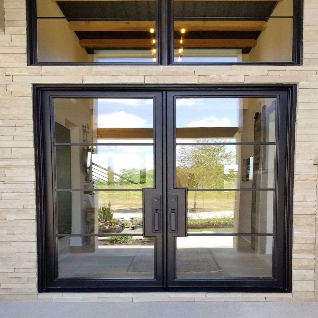 Custom T steel wrought iron entry french door -  French doors